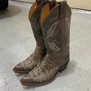 Justin Brown Cowboy Western Boots Handmade in USA